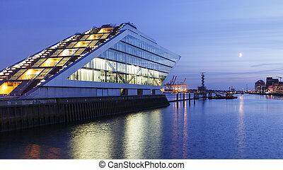 Hamburg Dockland at Night - Landmark office building...