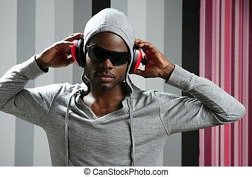 africano, norteamericano, joven, negro, hombre, rap