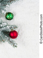 Pine tree decorated with Christmas Ornaments - Vertical...