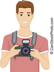 Digital Camera Man - Illustration of a Man Holding a DSLR...