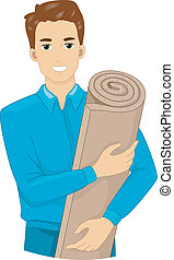 Insulation Foam - Illustration of a Man Holding a Roll of...