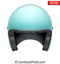Vintage motorcycle scooter helmet on white background.