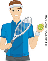 Lawn Tennis Player - Illustration of a Man Dressed as a Lawn...