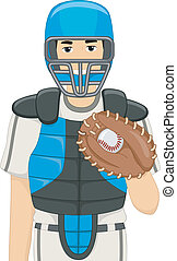 Baseball Catcher - Illustration of a Man Dressed as a...