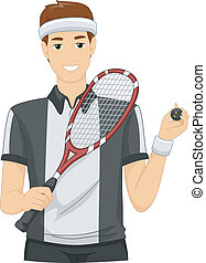 Squash Player - Illustration of a Man Dressed as a Squash...