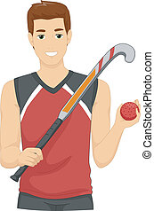 Field Hockey Player - Illustration of a Man Dressed as a...