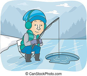 Ice Fishing - Illustration of a Man Fishing in a Frozen...