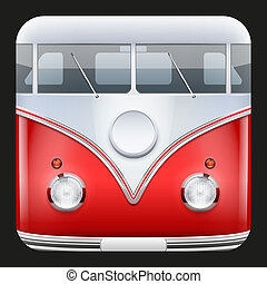 Square Icon Popular bus classic Camper Van - Square Icon...