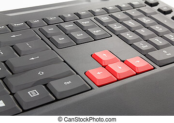 Red arrows computer keyboard - Red four arrows computer...