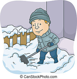 Man Shoveling Snow - Illustration of a Man Shoveling Snow