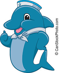 Sailor Dolphin Mascot - Mascot Illustration Featuring a...