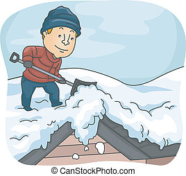 Man Shoveling Snow from His Roof - Illustration of a Man...