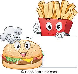 Burger and Fries Mascot