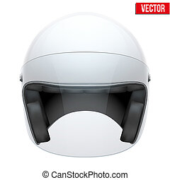 White motorbike classic helmet with clear glass visor Vector...