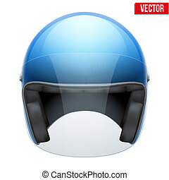 Blue motorbike classic helmet with clear glass visor Vector...
