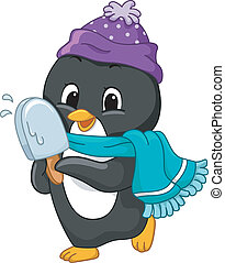 Popsicle Penguin - Illustration of a Penguin Holding a...