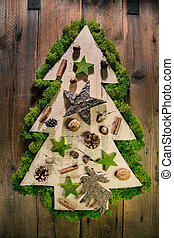 Christmas tree decorated with natural material from the...