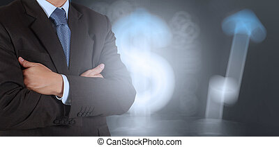 businessman success with business sign  background