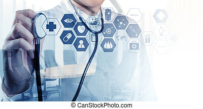 Double exposure of smart medical doctor working with...