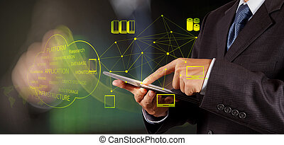 Businessman working with a Cloud Computing diagram on the...
