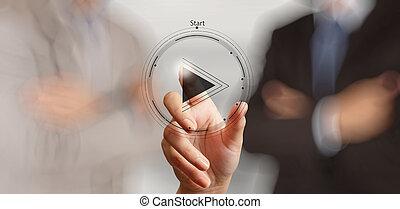 hand press play button sign to start or initiate projects as...
