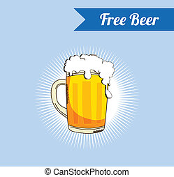 beer - food and drink theme graphic vector art illustration