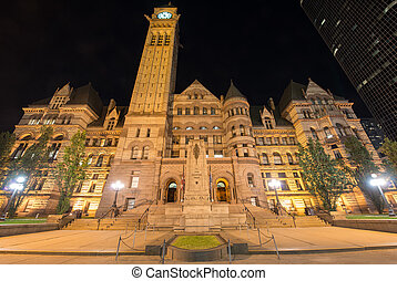 Toronto's Old City Hall at night. One of the largest...