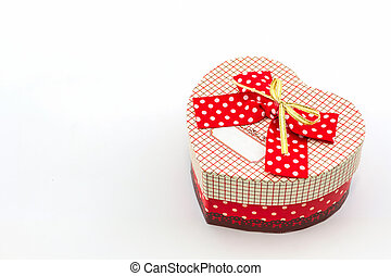 Gift box shaped heart. - Gift box shaped heart on white...