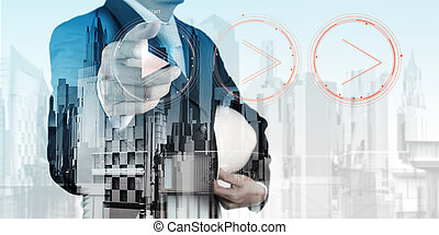 Double exposure of business engineer press play button sign...