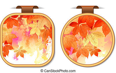 Set of autumn stickers labels