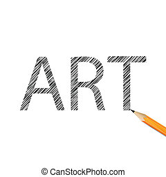 Art word drawn with graphite pencil