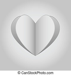 Paper heart - Cutout paper heart in white and grey shades