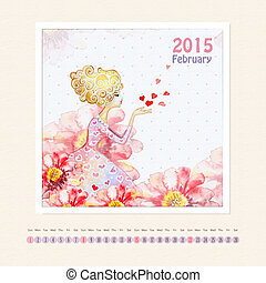 Calendar for february 2015 with girl, watercolor painting