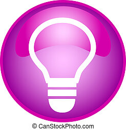 purple bulb button - illustration of a purple bulb button