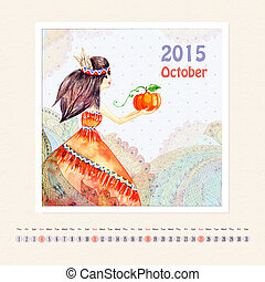 Calendar for october 2015 with girl, watercolor painting