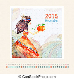 Calendar for november 2015 with girl, watercolor painting
