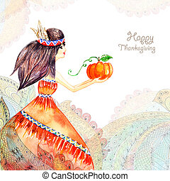 watercolor greeting card Girl in flowers