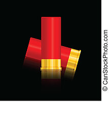 shotgun shells vector illustration isolated on black...