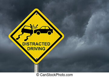 No Distracted Driving Sign, Yellow warning sign with words...