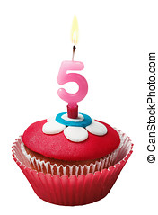 Cupcake for birthday with the number five isolated on white...