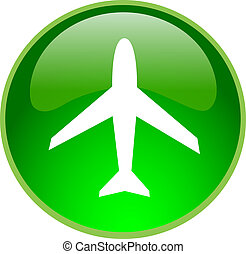 green airplane button - illustration of a green airplane...