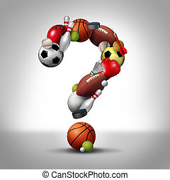 Sports Question - Sports questions symbol as equipment with...