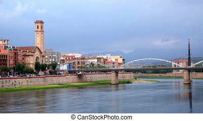 Ebre with Ferrocarril bridge - View of Ebre river with...