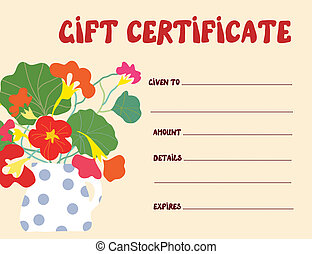 Gift certificate template funny design with flowers