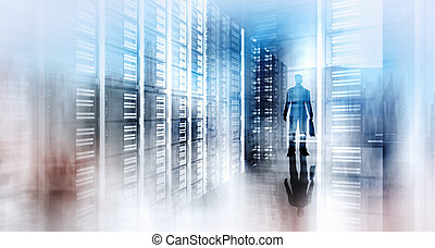 Double exposure of abstract image with technology server...