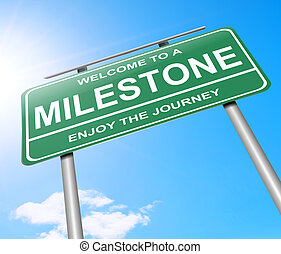 Milestone concept. - Illustration depicting a sign with a...