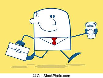 Businessman Running To Work