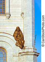 Sculpture on Church of Christ the Savior in Moscow Russia