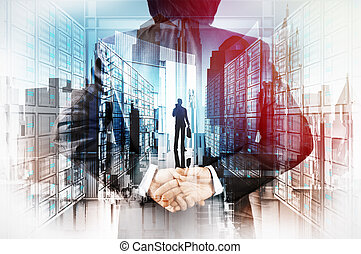 Double exposure of businessman hand showing leader on server...