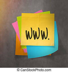 """""""www dot com"""" text on sticky note paper on wall texture"""